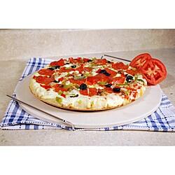 15-inch Ceramic Pizza Stone with Chrome Wire Rack