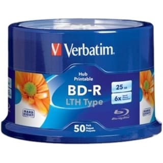 Verbatim BD-R LTH Type 25GB - 6X - Hub Inkjet Printable - 50pk Spindl