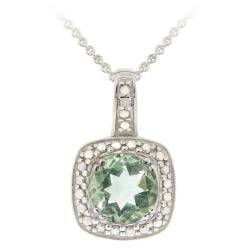 Glitzy Rocks Sterling Silver Green Amethyst and Diamond Necklace