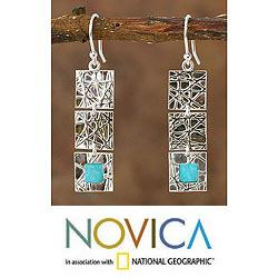 Handcrafted Sterling Silver 'Glorious Light' Amazonite Earrings (Peru)