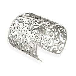 Mondevio Stainless Steel Filigree Design Large Cuff Bangle Bracelet 8167288
