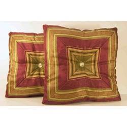 Nigel Ruby Striped Decorative Pillows (Set of 2)