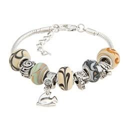 La Preciosa Tan Glass and Silverplated Oval Bead Charm Snake  Bracelet 8175167