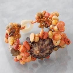 Triple Limpet Shell/ Coral Orange Nature Toggle Bracelet (Philippines)