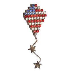 Detti Originals Red, White and Blue Crystal Kite Pin