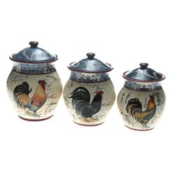 Certified International Lille Rooster 3-piece Cannister Set