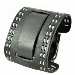 Nemesis Black Small Stitch Leather Cuff Wrist Watch Band