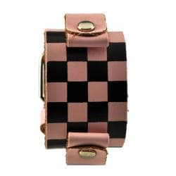 Nemesis Checkered Pink Leather Watch Band