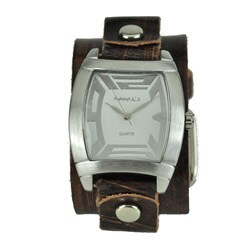 Nemesis Men's Rugged Brown Leather Cuff Watch