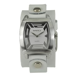 Nemesis Women's Rugged White Leather Cuff Watch