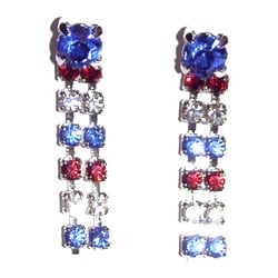 Detti Originals Silvertone Red/ White/ Blue Crystal Two-strand Earrings