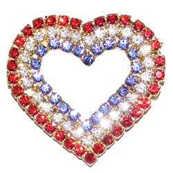 Detti Originals Silvertone Red/ White/ Blue Crystal Heart Pin