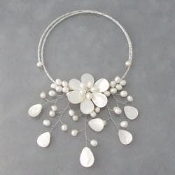 Pearl and MOP Pearl Flower Ray Choker Wrap Necklace (5-7 mm) (Thailand) 8193006