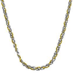 Fremada 14k Two-tone Gold 22-inch Diamond-cut Twisted Ball Necklace