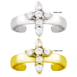 10k Gold 1/8ct TDW Diamond Pave Cross Toe Ring (G-H, SI1-SI2)