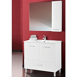 Somette Atwood White Wood and Ceramic Vanity