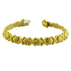 Fremada 14k Yellow Gold Polished/ Satin Hugs and Kisses Bracelet (7-inch)