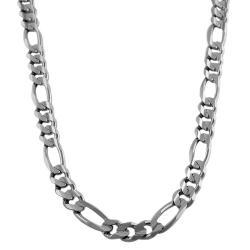 Fremada 14k White Gold 24-inch Classic Figaro Link Chain
