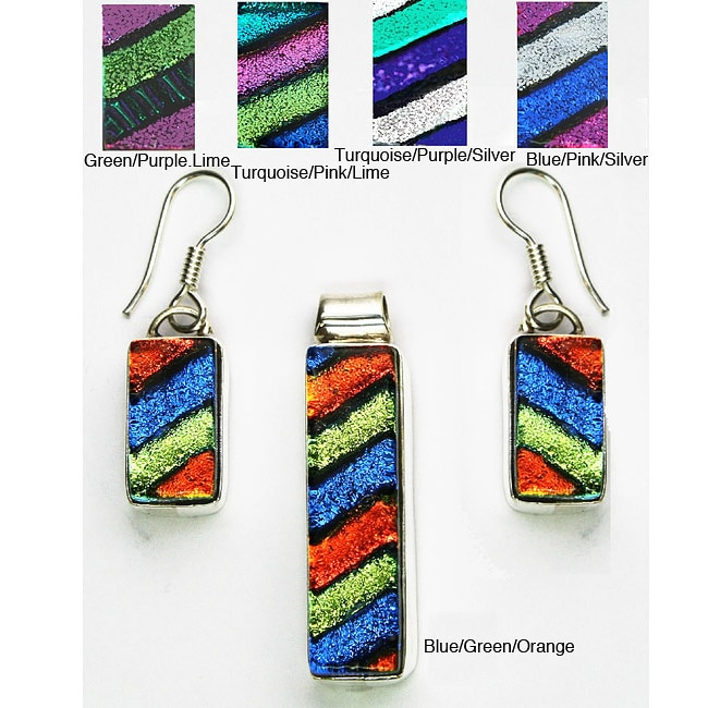Sterling Silver Dichroic Glass Jewelry Set (Mexico) 8209239