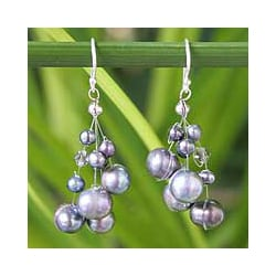 Handcrafted Pearl 'Liquorice Candyfloss' Earrings (4, 8 mm) (Thailand)