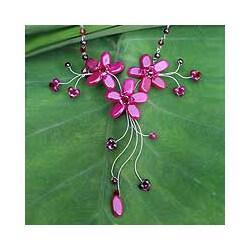 Stainless Steel 'Red Rosebud Burst' Multi-gemstone Necklace (Thailand)
