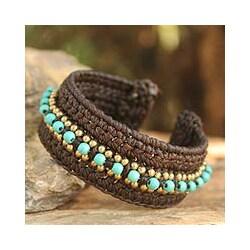 Handmade Brass 'Thai Supreme' Calcite Cuff Bracelet (Thailand) 8209355
