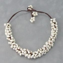 Cotton White Freshwater Pearl Cluster Necklace (6-8 mm) (Thailand)