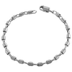 Fremada 14k White Gold 8.75-inch Bullet Chain Bracelet
