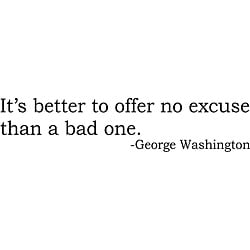 Design on Style 'It's Better to Offer No Excuse than a Bad One' G. Washington Vinyl Art Quote