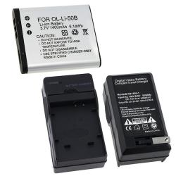 Li-Ion Battery/ Charger for Olympus Stylus Tough 6000/ Li-50B