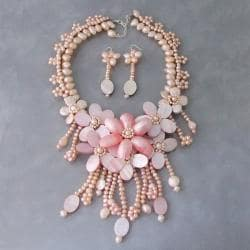 Pink Statement FW Pearl and Shell Floral Jewelry Set (Thailand)