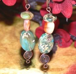 Susen Foster Copper Road to Mandalay Variscite and Agate Earrings