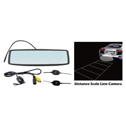 "Pyle Rearview Mirror Wireless Back-Up Camera System w/ 4.3"" TFT Touch Screen & Universal Mount Low Lux Camera w/ Distance Scale"