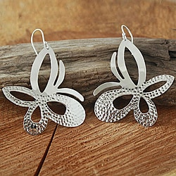 Sterling Silver Hammered Butterfly Dangle Earrings (Mexico)