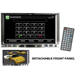 "Lanzar 7"" Double Din TFT Monitor Touch Screen DVD/MPEG4/MP3/DIVX/CD-R/USB/SD/AM/FM/RDS w/Build-in Bluetooth (Refurbished)"