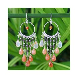 Sterling Silver 'Ginger Lime Ruffles' Carnelian Earrings (Thailand)