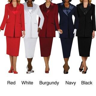Divine Apparel Missy 3-piece Fashion Satin Lapel Suit