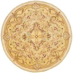 Safavieh Handmade Aubusson Creteil Beige/ Light Gold Wool Rug (3'6 Round)