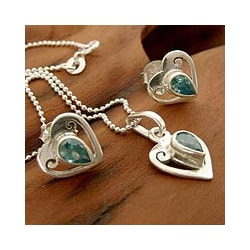 Sterling Silver 'Twinkling Hearts' Glass Jewelry Set (India)