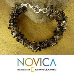 Sterling Silver 'Song of The Mist' Smoky Quartz Bracelet (India)