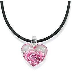 PalmBeach Pink Glass Heart Black Cord Necklace Color Fun