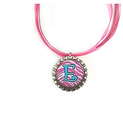 Hot Pink Stripes Monogram Bottle Cap Necklace