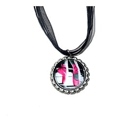 Hot Pink Ballet Bottle Cap Necklace