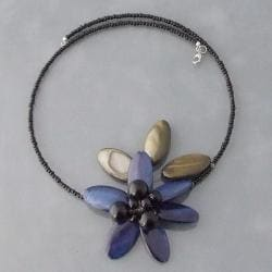 Dark Blue Shell and Onyx Floral Choker Necklace (Thailand)