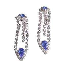 Detti Originals Silvertone Blue and Clear Crystal Earrings