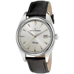 Revue Thommen Men's 21010.2532 'Heritage' Black Leather Strap Silver Face Watch