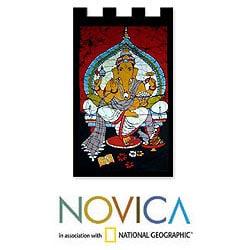 Handcrafted Cotton 'Benevolent Ganesha' Batik Wall Hanging , Handmade in India