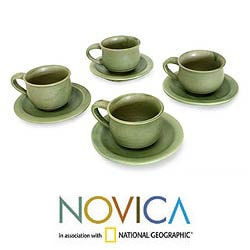 Handmade Set for 4 Ceramic 'Bali Forest' Cups and Saucers (Indonesia) 8309227