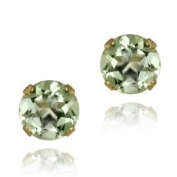 Glitzy Rocks 14k Yellow Gold 1 1/2ct 6mm Green Amethyst Stud Earrings