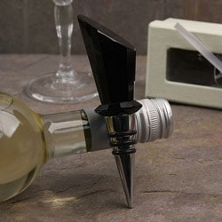 Black Facet/ Stainless Steel Bottle Stopper